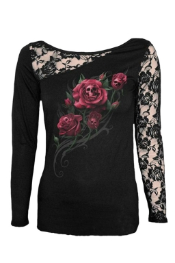 Womens Lace Patchwork Red Rose Printed Long Sleeve T-shirt Black
