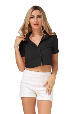 Womens Turndown Collar Lace-up Bow Short Sleeve Crop Top Black