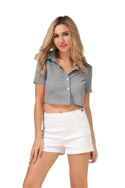 Womens Turndown Collar Lace-up Bow Short Sleeve Crop Top Gray
