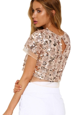 Womens Sequins Organza Patchwork Crew Neck Crop Top Gold