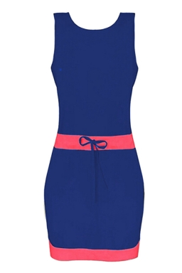 Womens Color Block Sleeveless Tank Dress Blue