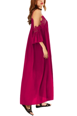 Womens Cold Shoulder Lace Embroidery Pleated Plain Maxi Dress Ruby