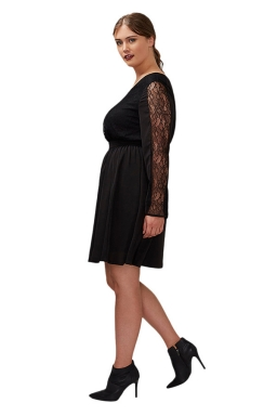 Womens V Neck Lace Patchwork Long Sleeve Plus Size Dress Black