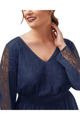 Womens V Neck Lace Patchwork Long Sleeve Plus Size Dress Navy Blue