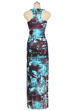 Womens Printed Fringed Hem Sleeveless Maxi Tank Dress Blue