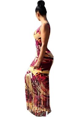 Womens Printed Fringed Hem Sleeveless Maxi Tank Dress Dark Red