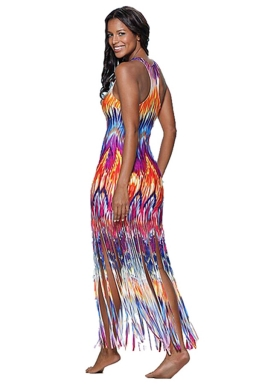 Womens Printed Fringed Hem Sleeveless Maxi Tank Dress Orange