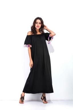 Womens Boat Neckline Fringe Patchwork Maxi Dress Black