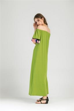 Womens Boat Neckline Fringe Patchwork Maxi Dress Light Green