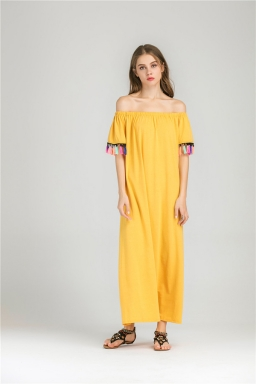 Womens Boat Neckline Fringe Patchwork Maxi Dress Yellow
