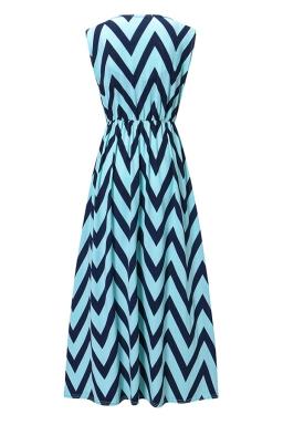 Womens Fashion Wave Strips V-neck Sleeveless Maxi Dress Blue