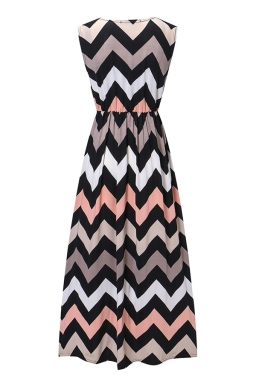 Womens Fashion Wave Strips V-neck Sleeveless Maxi Dress Gray