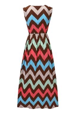 Womens Fashion Wave Strips V-neck Sleeveless Maxi Dress Red