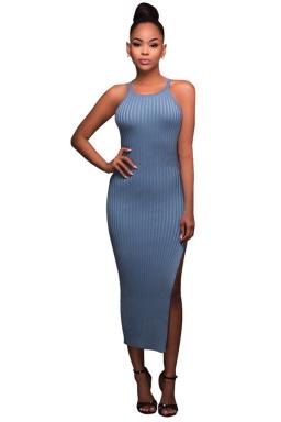 Womens Sleeveless Side Slit Plain Crochet Maxi Dress Blue