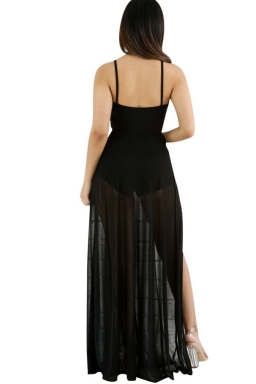 Womens Lace-up Cutout Mesh Splicing Side Slit Maxi Romper Dress Black