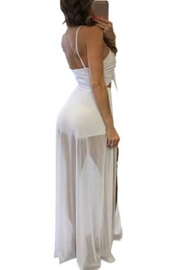 Womens Lace-up Cutout Mesh Patchwork Side Slit Maxi Romper Dress White
