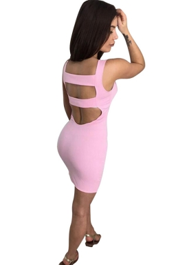 Womens Sexy Backless Slimming Clubwear Dress Pink