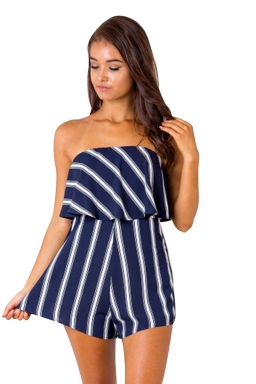 Womens Sexy Strapless Ruffle Strips Printed Romper Navy Blue