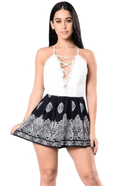 Womens Sexy Lace-up V-Neck Backless Boho Printed Romper Black