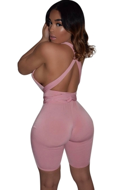 Womens Sexy Deep V-neck Close-fitting Bandage Backless Jumpsuit Pink