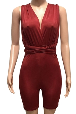 Womens Sexy Deep V-neck Close-fitting Bandage Backless Jumpsuit Ruby