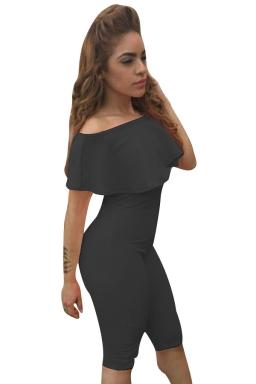 Womens Ruffle Boat Neckline Plain High Waist Fitting Jumpsuit Black