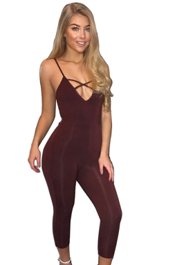 Womens Sexy Straps Deep V-neck Cross Strings Jumpsuit Ruby