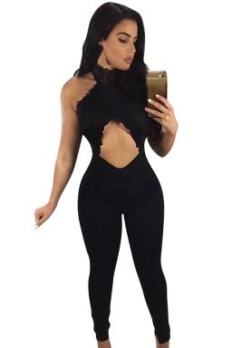 Ladies Sexy Cut Out Lace Patchwork Open Back Jumpsuit Black