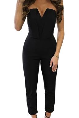Womens Sexy Strapless V-neck High Waist Jumpsuit Black