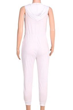 Womens Zipper Hoodied Draw String Ripped Knee Jumpsuit White