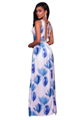 Womens Sexy V-neck Open Back Pringt High Waist Romper Dress Blue