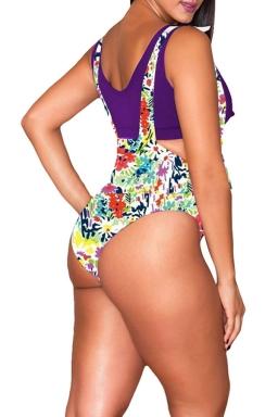 Womens Plus Size Flower Printed High Waist 2PCS Bikini Purple