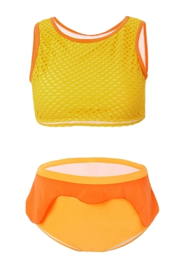 Womens Fishnet Plus Size Tankini Top&Ruffled Swimsuit Bottom Orange