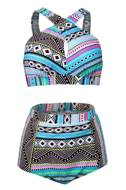 Womens Plus Size Geometric Bikini Top&High Waist Swimsuit Bottom Blue