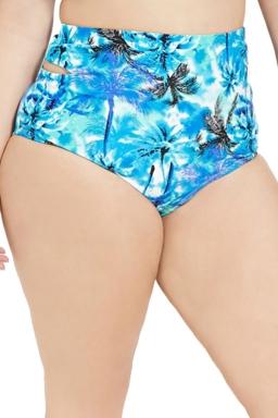 Womens Plus Size Tree Printed Cutout High Waist 2PCS Bikini Set Blue