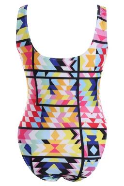 Womens Plus Size Color Block Geometric Printed Monokini Turquoise