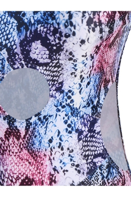 Womens Cut Out Plus Size Snakeskin Printed Monokini Purple