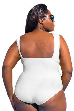 Womens Cut Out Plus Size Plain One Piece Swimsuit White