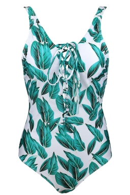Womens Lace-up V Neck Printed Open Back Sleeveless Monokini Green