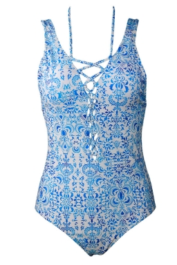 Womens Lace-up V Neck Printed Open Back Sleeveless Monokini Light Blue