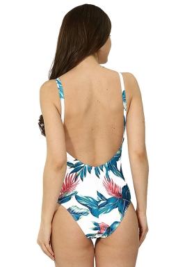 Womens Lace-up V Neck Printed Open Back Sleeveless Monokini Turquoise