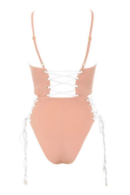 Womens Cross Lace-up Sides Cut Out Backless One Piece Swimsuit Pink