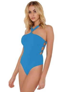 Womens Off Shoulder Bandeau Cut Out Sides Plain Monokini Blue