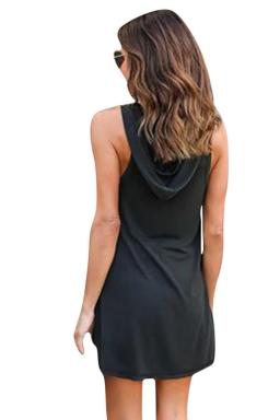 Womens V-neck High Low Sides Slit Plain Hooded Tank Top Black