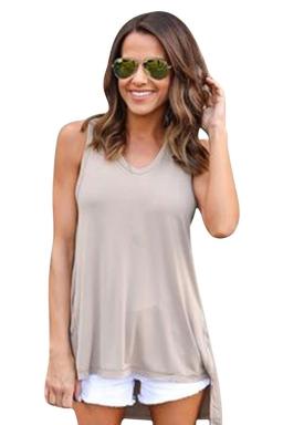 Womens V-neck High Low Sides Slit Plain Hooded Tank Top Khaki