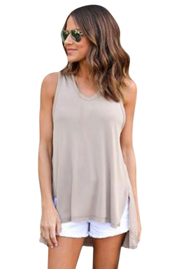 Womens V-neck High Low Sides Slit Plain Hooded Tank Top Khaki