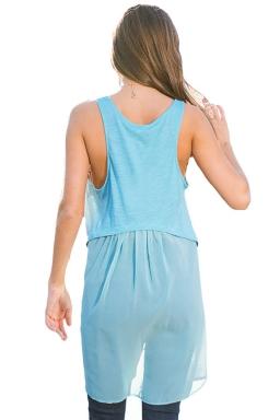 Womens High Low Patchwork Plain Sleeveless Tank Top Blue