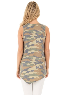 Womens Crew Neck Flower Printed Sleeveless Tank Top Army Green