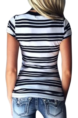 Womens V Neck Striped Short Sleeve Pullover T Shirt White