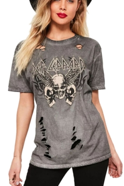 Womens Round Neck Ripped Skull Printed Short Sleeve T Shirt Gray